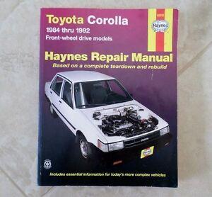 toyota corolla fwd1984 1992 haynes repair manual based on a rh ebay com 1992 toyota corolla repair manual 1992 toyota corolla repair manual pdf