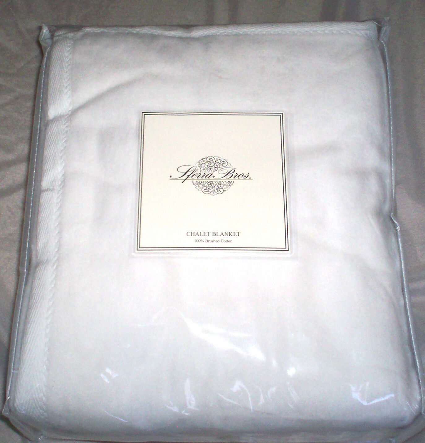 Sferra Chalet Premium Blanket 100% Plush Egyptian Cotton Queen or King White New