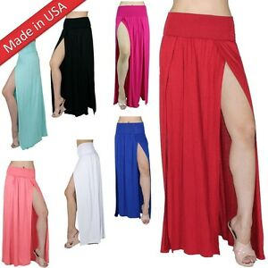 94f3dc41edd Double Slit Long Maxi Skirt High Banded Waist Full Length Two Split ...