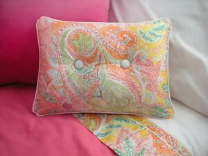 NEW Custom Ralph Lauren Jamaica Pink Paisley Accent Pillow 2 Button White Piping
