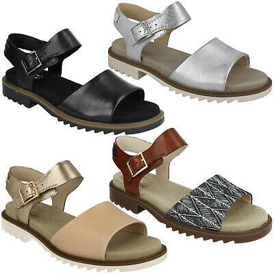 Damen Clarks FERNI Fame Leder Open Toe Schnalle Smart Casual Flach Sommer Sandale   eBay