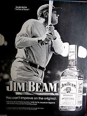 """Babe Ruth New York Yankees Sultan Of Swat 1974 Jim Beam Original Print Ad 9x11/"""""""
