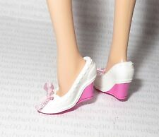 SHOES ~ BARBIE DOLL MY MELODY MODEL MUSE WHITE WEDGE BOW LOAFERS HIGH HEELS