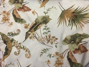 ROUND-TABLECLOTH-Creme-Gold-Green-BOTANICAL-Print-68-in-Diameter