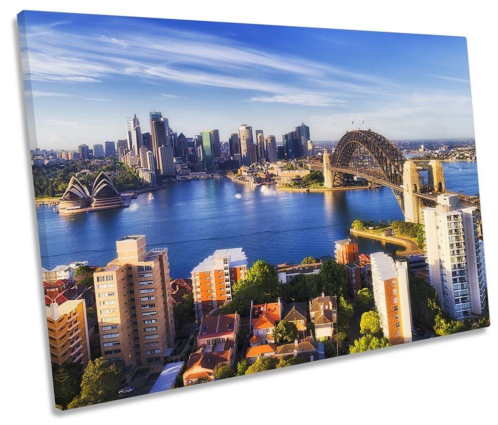 Sydney Harbor Bridge City Framed SINGLE CANVAS PRINT Wall Art