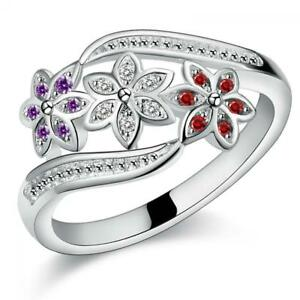 Fashion-Women-925-Sterling-Silver-Plated-Crystal-Zircon-Ring-Size-7-9-Lady-Ring