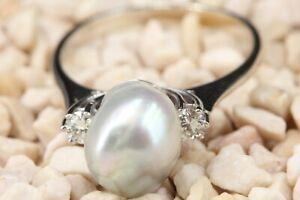 Diamant Gold 585 Ring Perle 14K Weißgold Südseeperle 9-11mm 2 Brillanten 0,25ct.