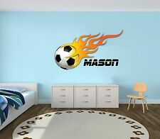 Soccer Ball in Fire Custom Name Wall Decal  -Mural Wall Decal For Kids Bedroom