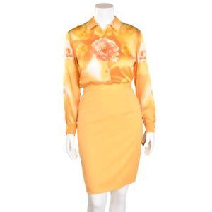 Escada-Melon-Floral-Print-Long-Sleeve-100-Silk-Blouse-Shirt-Top-size-38-DE-8-US