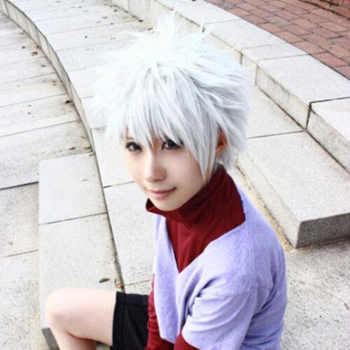 Anime HunterXHunter Killua Zoldyck Short Silver White Hair Cosplay Costume wig