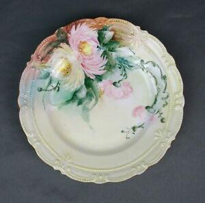 Antique Victorian Hand Painted Porcelain Plate Floral Signed