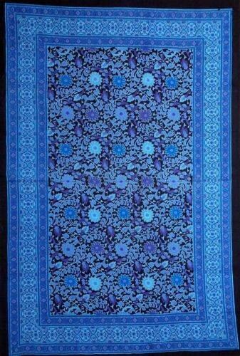 Sunflower Print Throw Tapestry Table cloth Wall hanging Spread-Blue Black-Twin