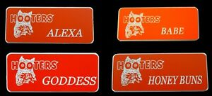 4-Hooters-Girl-Uniform-Name-Tag-Alexa-Babe-Goddess-Honey-Pin-Lot-Holiday-Gift