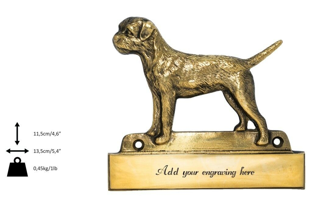 Border Terrier - brass tablet  Welcome  with image of a dog, Art Dog type 2