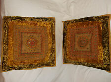 PAIR OF(2) TOSS/THROW PILLOW COVERS VELVET MIRRORED INDIA STYLE GREEN YELLOW RED