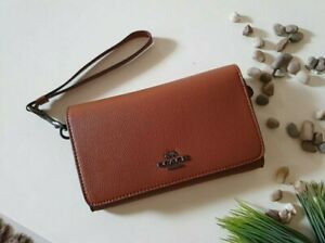 Authentic Coach F30205 Flap Phone Wristlet Leather - Tan F30205