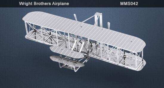 Métal Terre Wright Bothers Avion 3d Modèle Métal + Brucelles 010428