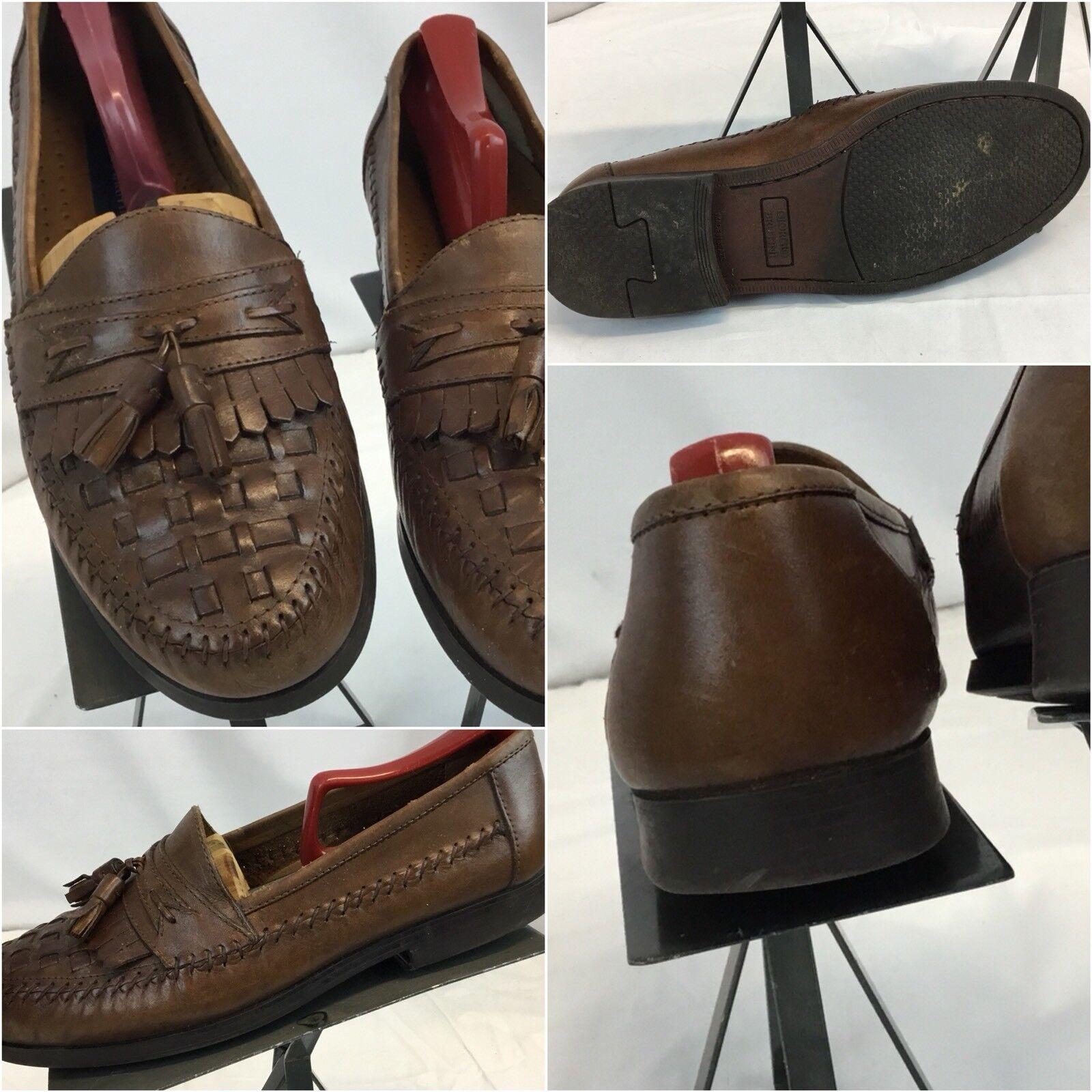 Giorgio Brutini Loafers shoes Sz 9 Mem Brown Leather Tassels Mint YGI C8