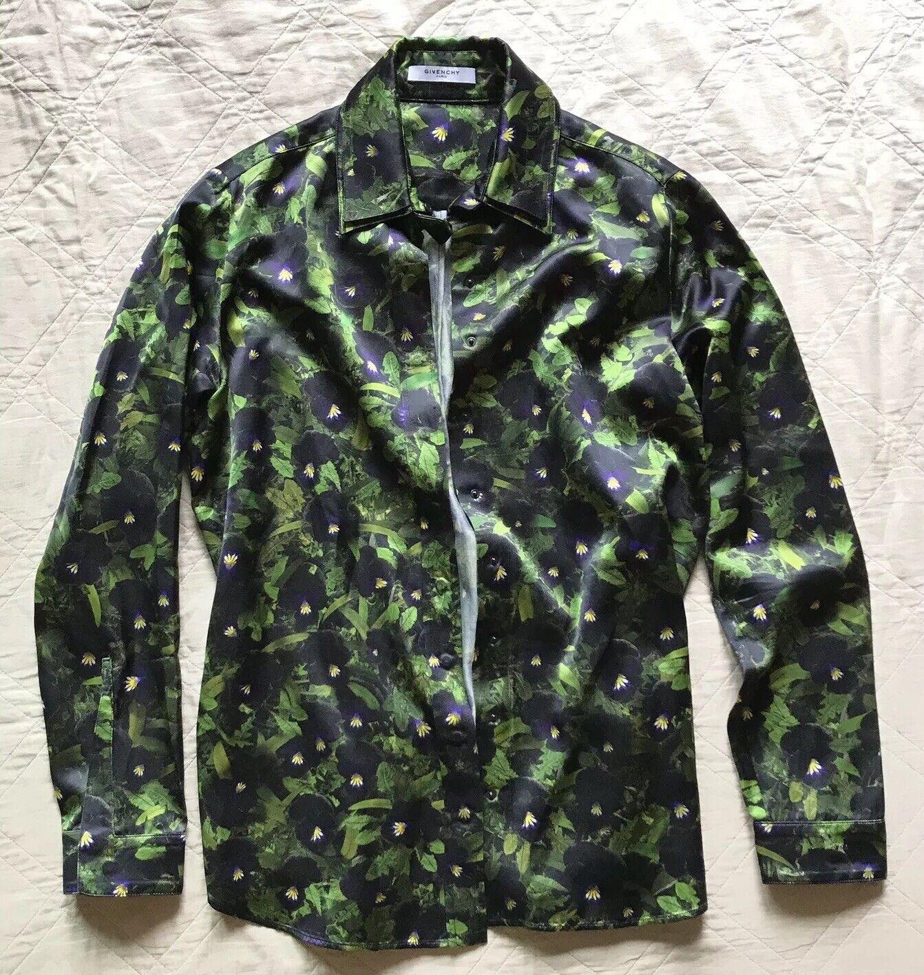 GIVENCHY⚡️Floral snap button long sleeve silky blouse shirt Größe 42 Large