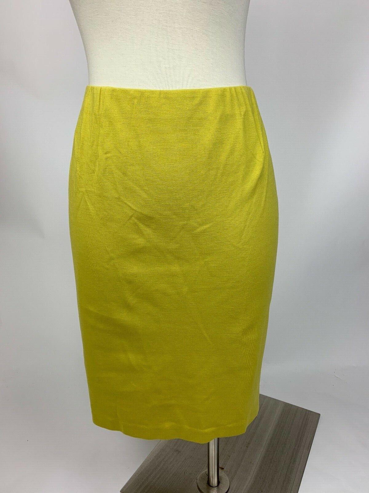 J. Jill Mustard Yellow Ponte Straight Pencil Skirt Stretch Medium Excellent