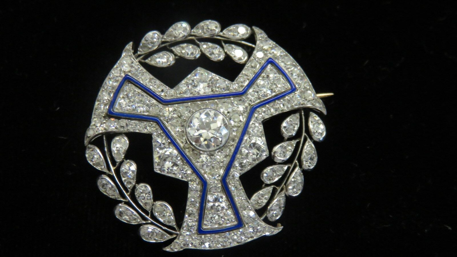 BOUCHERONPARISART DECOPLATINUM+DIAMONDS+blueE ENAMELBROOCH PINI4.00 CARATS
