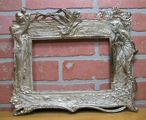 Antique Art Nouveau Beautiful Maidens Flowers Decorative Arts High Relief Frame