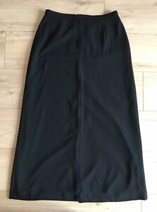 M-amp-S-St-Michael-Vintage-Black-High-Waisted-Maxi-Skirt-With-Slit-Size-12-Work