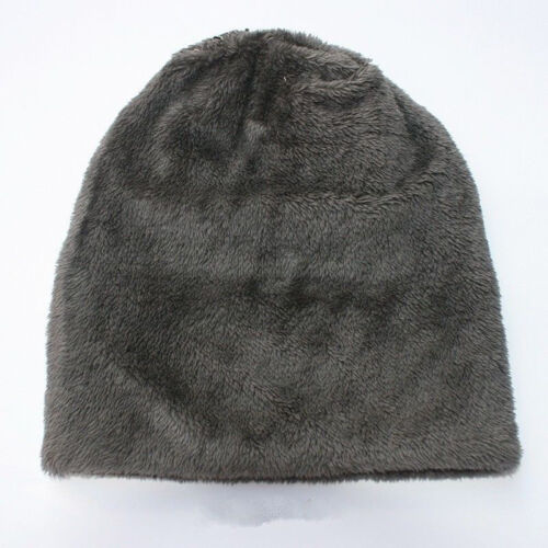 Mens Womens Knitted Chunky Beanie Outdoor Fleece Warm Winter Ski Hat Cap Fur