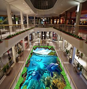 3D Dolphin Diving Ocean 846 Floor WallPaper Murals Wall Print Decal 5D AU Lemon