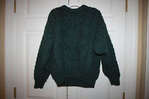 Aran-Crafts-Sweater-Womens-Army-Green-Wool-Cable-Knit-Fisherman-Ireland-Size-M