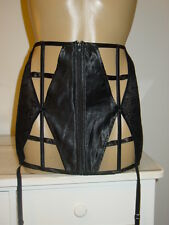 Jacalyn Bennett black wide garter belt waist cincher silk cage strappy-2X 3X