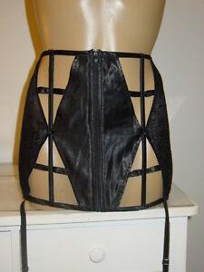 jacalyn black wide garter belt waist cincher silk