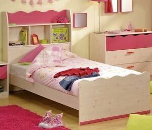 kinderbett bett 90x200 cm kinderzimmer m dchenzimmer kiefer weiss pink neu ebay. Black Bedroom Furniture Sets. Home Design Ideas