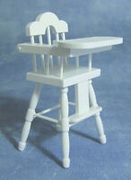 Dolls House White Wooden High Chair    :   Miniature Furniture in 12th scale