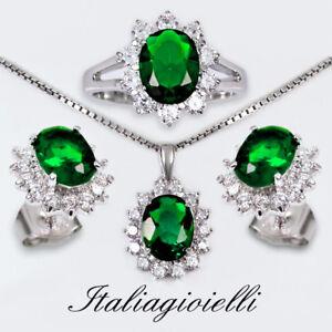 Sfarzosa-Parure-Donna-Plus-in-Argento-925-con-Smeraldi-e-Brillanti