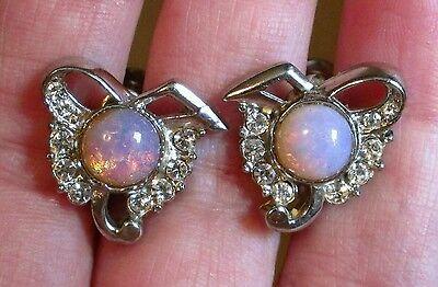 Vintage Opal earrings silvertone screw back jewelry small petite fashion jewelry