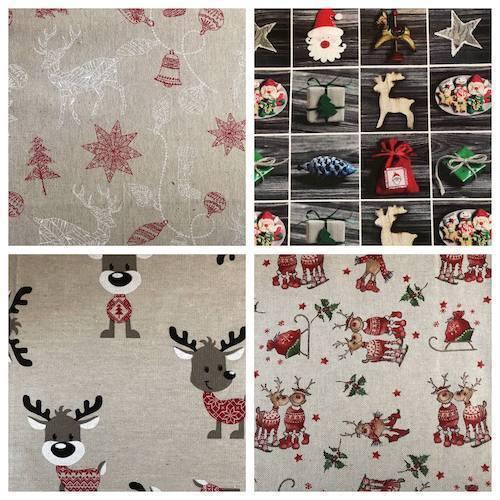 Lin Naturel Look En Toile Coton Tissu Renne Santa présent Stocking matériel