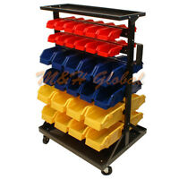60 Removable Bins Mobile Rack With Wheels Parts Storage Organizer