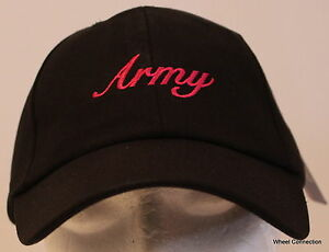 Army Pink Script Black Hat Military Adjustable Ball Cap Embroidery ... b43257c2669