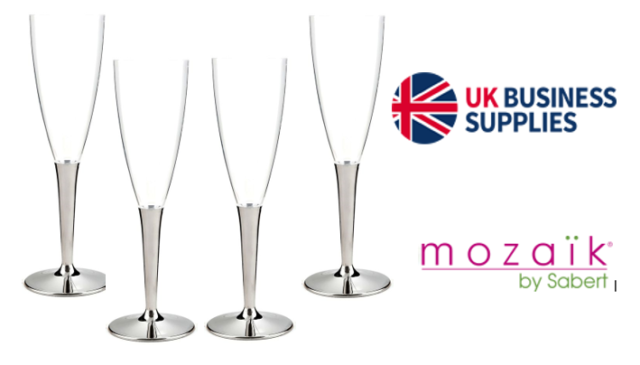 Mozaik 10 Disposable Plastic Champagne Flutes with Silver Stem