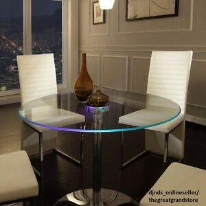 Image Is Loading LED Dining Table Round Large Glass Modern Lights