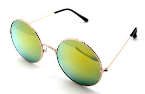 PT Gafas de Sol Hippie Retro Redondas Hombre Mujer Sunglasses UV400 Espejo Oro