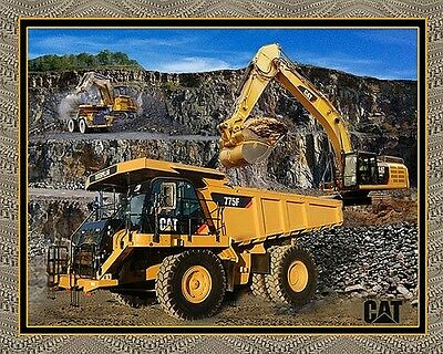 CATERPILLAR CONSTRUCTION MACHINERY DUMP TRUCK & CRANE PATCHWORK FABRIC PANEL