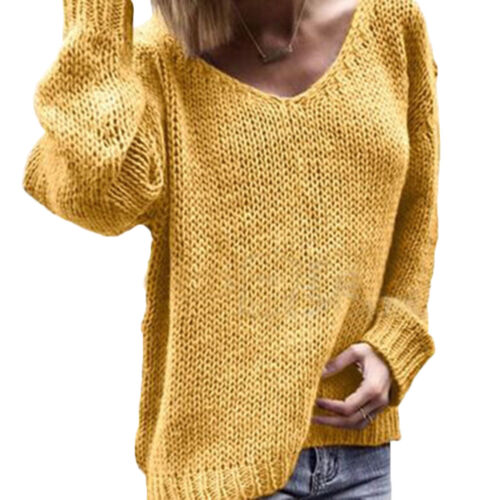 Women Long Sleeves Loose Sweater V-neck Knitted Blouse Pullover Oversized Tops