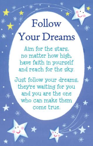 Suivez vos rêves HEARTWARMERS Keepsake Carte de crédit /& enveloppe cadeau