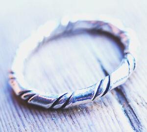 Silberring 48 51 52 53 Silber Ring Muster Gedreht Rund Draht Kordel ...