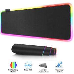 Mat-USB-Erweitert-LED-RGB-Spielen-Mouse-Pad-Luminous-For-PC-Laptop