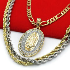 Men 14k Gold Cz Iced Out Rosary 3D Cube Cluster Guadalupe Necklace Hip Hop Cross