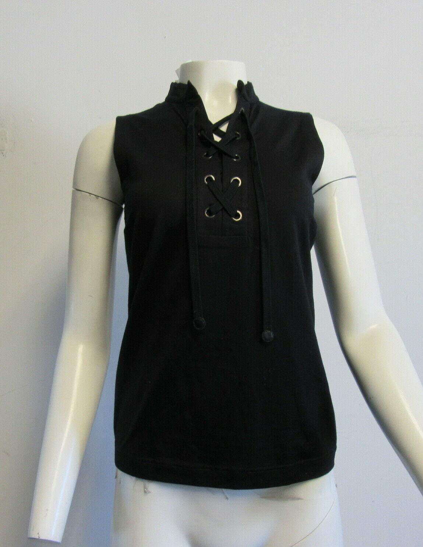 AKRIS PUNTO schwarz cotton blend lace up front sleeveless top SZ I 44 8