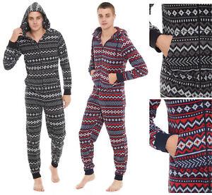 449bd5a12906fd Das Bild wird geladen Herren-Alles-in-einem-Schlafanzug-Fleece -Hausanzug-Anzug-